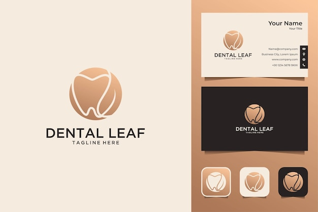 Design elegante de logotipo e cartão de visita dental leaf