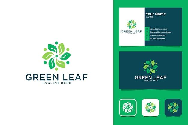 Design elegante de logotipo em folha verde e cartão de visita