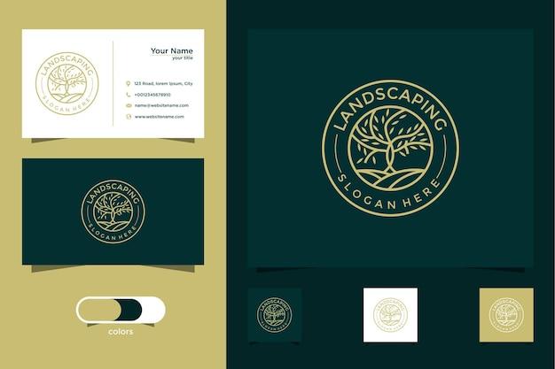 Design elegante de logotipo para paisagismo e cartão de visita