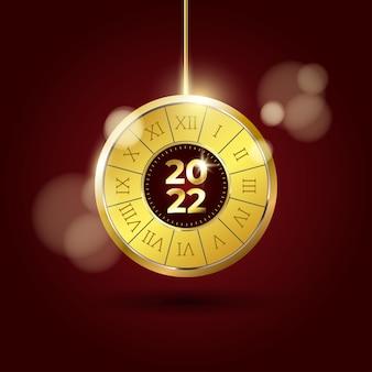 Design elegante de luxo 2022 feliz ano novo com relógio antigo dourado brilhante sobre fundo vermelho escuro