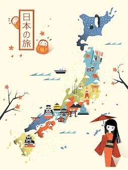 Design elegante de mapa de viagens para o japão - viagem para o japão em japonês no canto superior esquerdo
