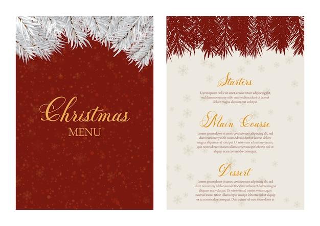 Design elegante de menu de natal com galhos de árvores