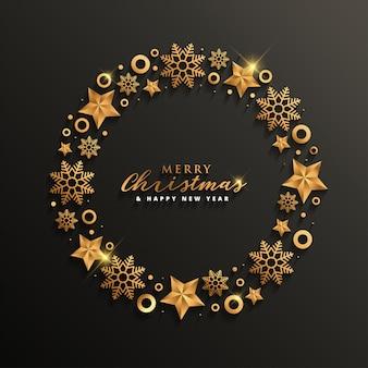 Design elegante de natal e ano novo com cor de ouro