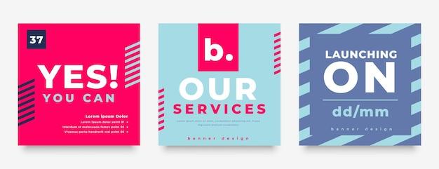 Design elegante de pós-banner de pacote de mídia social