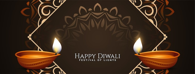 Design elegante do banner do happy diwali religioso feliz