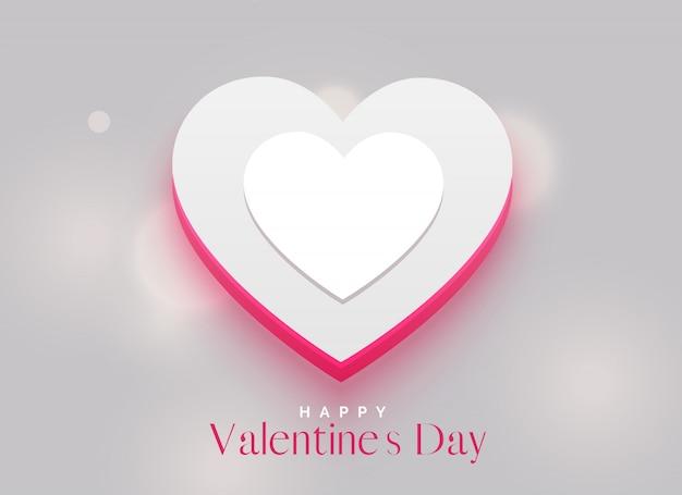 Design elegante do coração 3d para o dia dos namorados