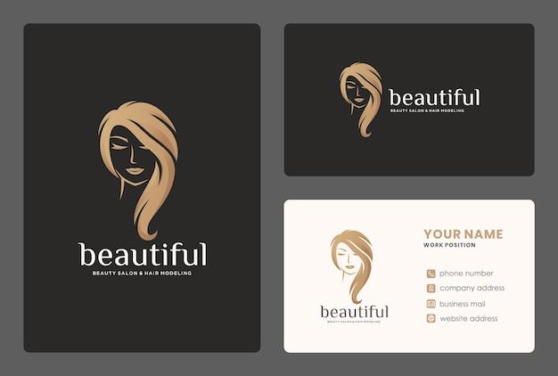 Design elegante do logotipo do cabeleireiro / mulheres da beleza com modelo de cartão de visita.