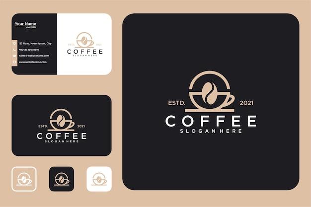 Design elegante do logotipo do café e cartão de visita