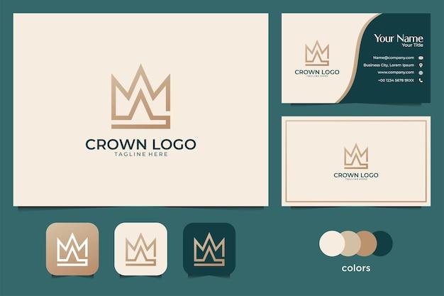 Design elegante do logotipo e cartão de visita da coroa dourada