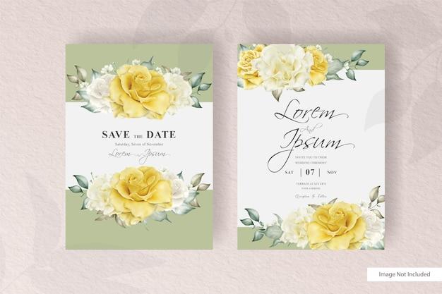 Design elegante do modelo do cartão do convite do casamento com moldura floral