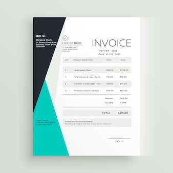 Design elegante do projeto da nota fiscal do negócio