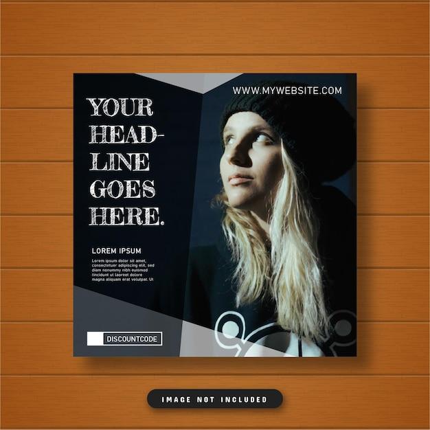 Design elegante e minimalista de mídia social escura pós-banner