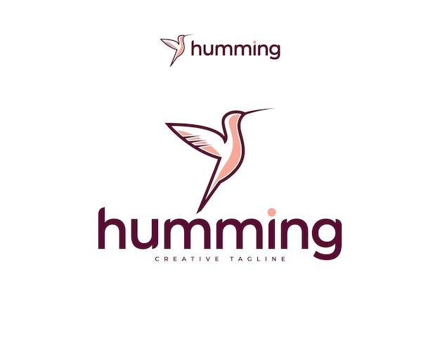 Design elegante e simples do logotipo do beija-flor