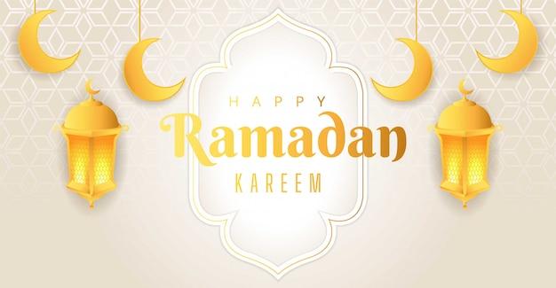 Design elegante fundo branco sobre o mês do ramadã. uma lua crescente com uma estrela que se ilumina à noite. projeto de ilustração.