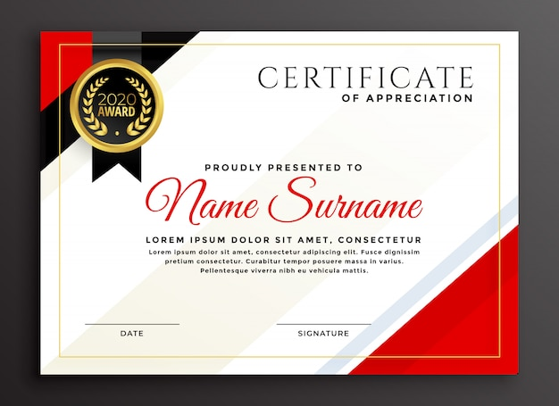 Design elegante modelo de certificado de diploma