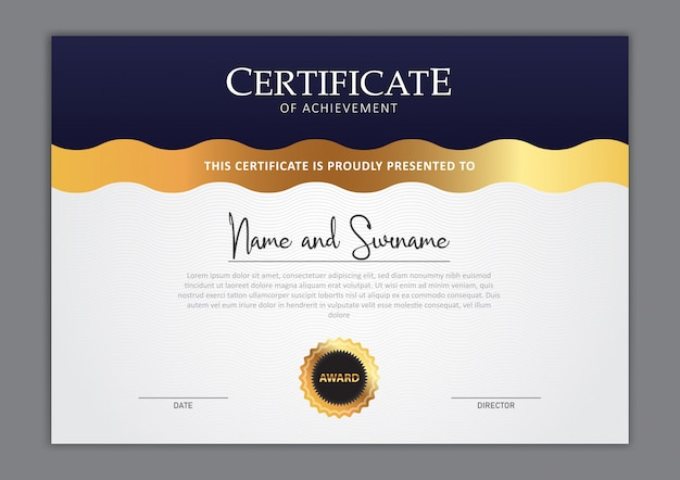 Design elegante modelo de certificado