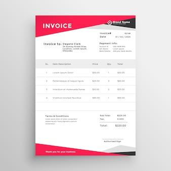 Design elegante modelo de factura vermelho