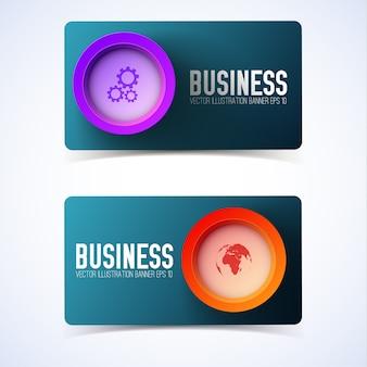 Design empresarial com círculos e ícones coloridos