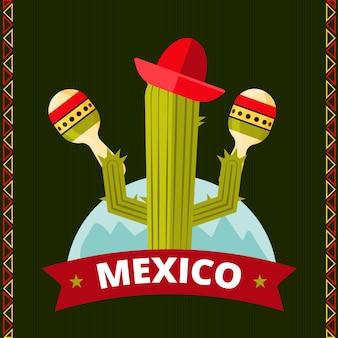 Design engraçado do cacto mexicano