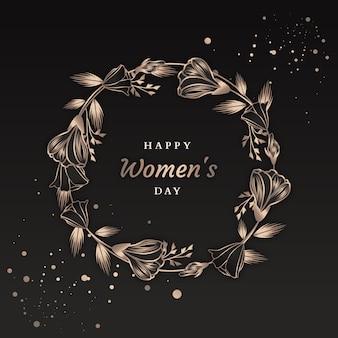 Design escuro com flores para o dia da mulher