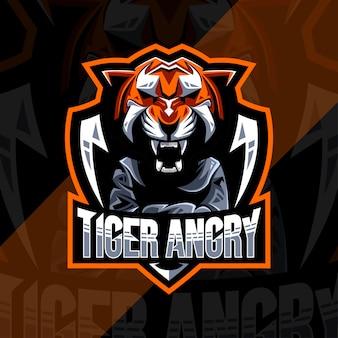 Design esportivo de logotipo de mascote zangado tigre bonito