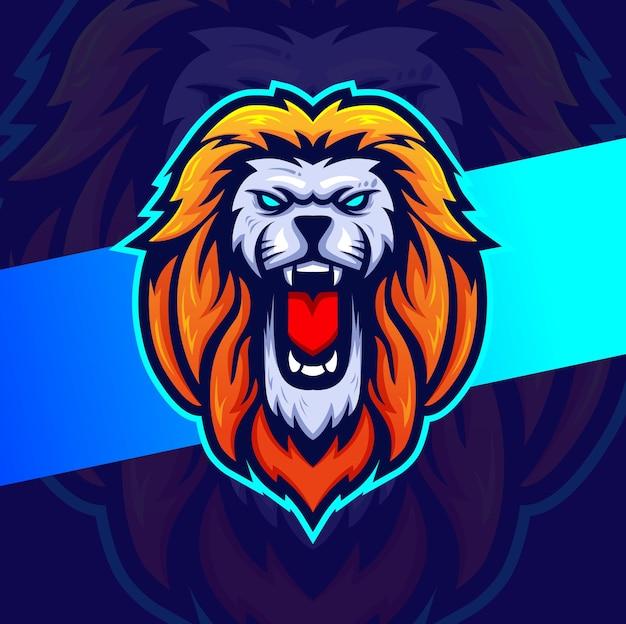 Design esportivo do mascote principal do leão para jogadores e logotipo do esporte