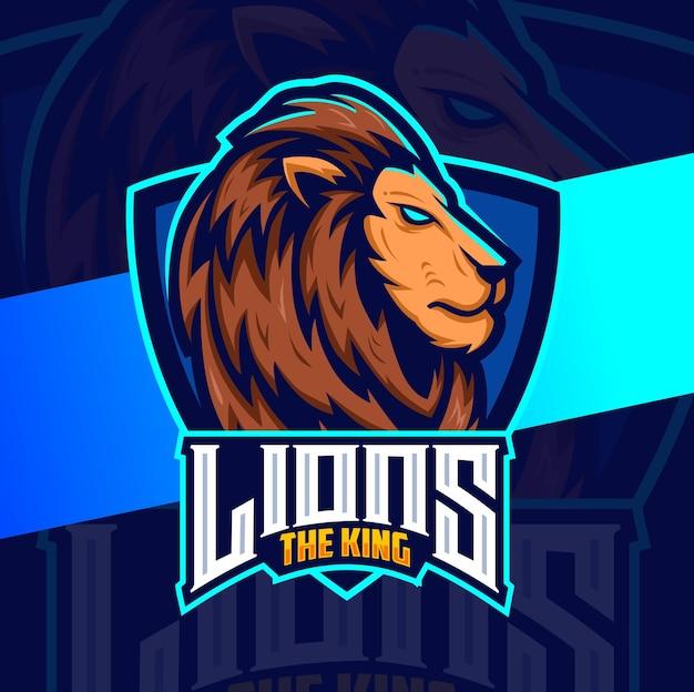 Design esportivo do mascote principal do leão para jogadores e logotipo do esporte Vetor Premium