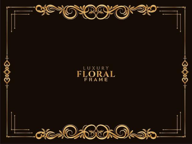 Design étnico luxuoso com moldura floral dourada