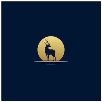 Design exótico do logotipo da silhueta dos cervos do por do sol