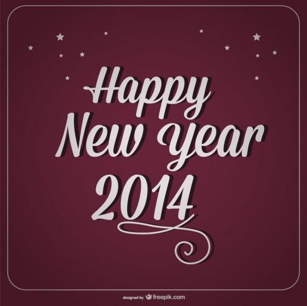 Design feliz ano novo cartão retro borgonha