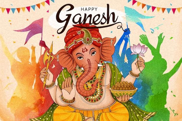 Design feliz de ganesh chaturthi com pessoas dançando juntas em tons coloridos