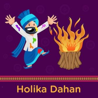 Design feliz de holika dahan com homem de punjabi