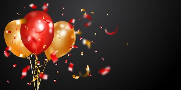 Design festivo com balões de ar dourados e vermelhos e pedaços brilhantes de serpentina em fundo escuro