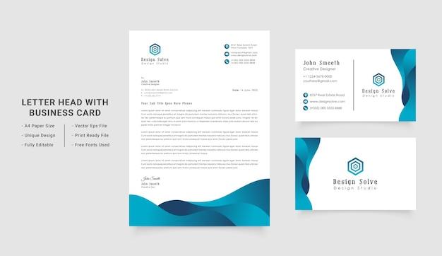 Design fixo de identidade corporativa de negócios com papel timbrado e cartão de visita