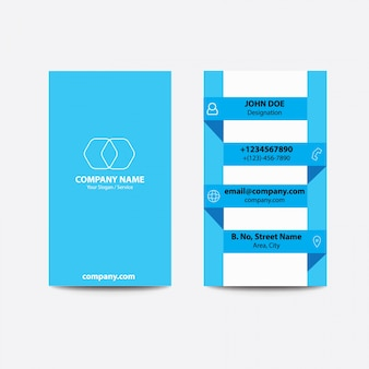Design flat flat fold style light blue color business visiting card