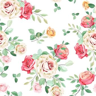 Design floral bonito sem costura padrão