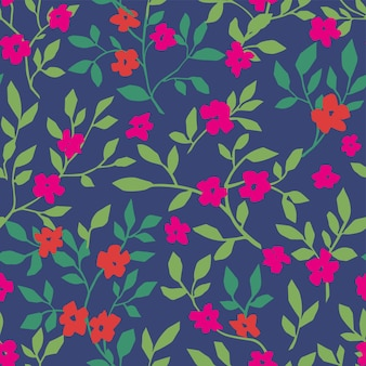 Design floral com flores e folhagens padrão
