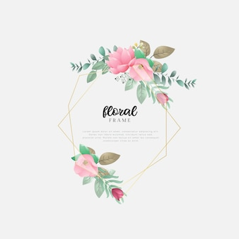 Design floral com folhas e flores