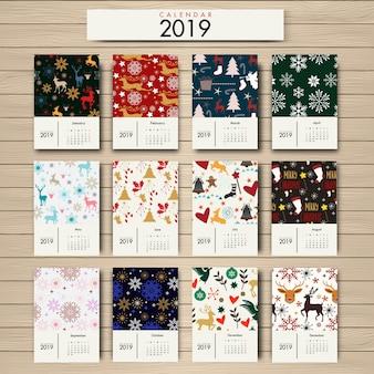 Design floral do calendário 2019