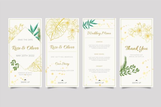 Design floral do modelo de histórias do instagram para casamento