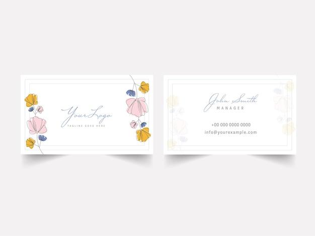 Design floral do modelo do cartão na frente e no verso. Vetor Premium