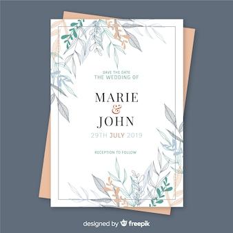 Design floral do molde do convite do casamento