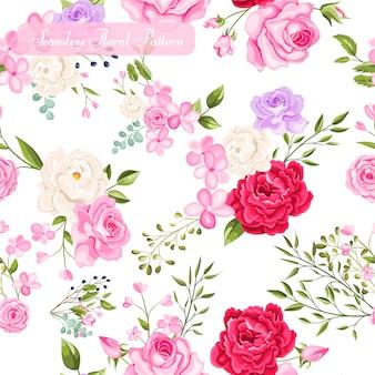 Design floral e folhas padrão sem emenda
