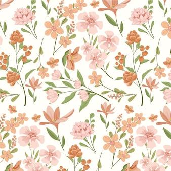 Design floral em tons de pêssego Vetor grátis