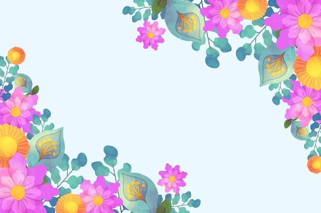 Design floral fundo aquarela