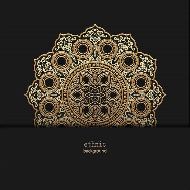 Design floral mandala floral dourada estilo desig