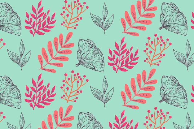 Design floral mão desenhada padrão