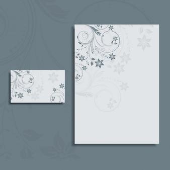 Design floral para um cartão de papel timbrado e negócios