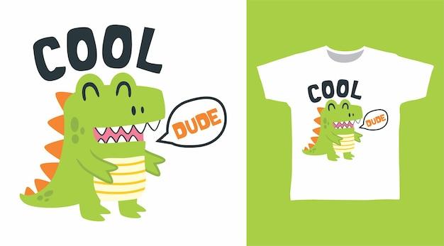 Design fofo de camiseta de dinossauro verde