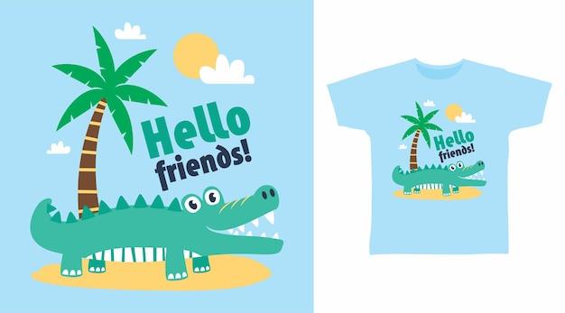 Design fofo de camiseta de praia de crocodilo